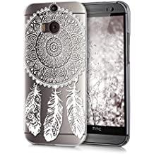kwmobile Hülle für HTC One M8 / Dual - Crystal Case Handy Schutzhülle Kunststoff - Backcover Cover klar Traumfänger Design Weiß Transparent
