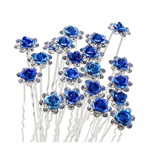 Reizender Charme 20pcs Hochzeits-Brautparty Diamante und weiße Faux-Abschlussball-Perlen-Blumenrhinestone-Kristallhaar-Stifte Klipp-Griff-Stifte Haarnadeln-Brautjunfer-Klipps (blau)