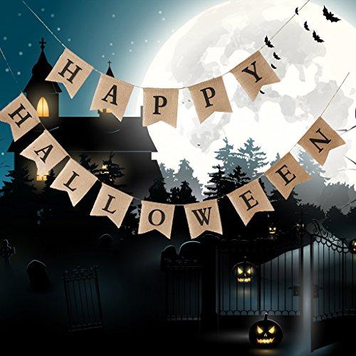 SM SunniMix Rustikale Wimpelgirlande Wimpelkette Girlande Kette Deko Girlande mit Happy Halloween Zeichen, aus ()