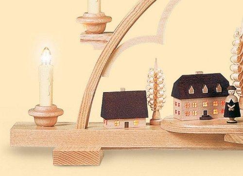 Candle Arch - Village Seiffen - 65 cm / 26 pulgadas - 120 V electr. (US-standard) - Auténtico Erzgebirge Vela Arcos alemán - Müller Kleinkunst