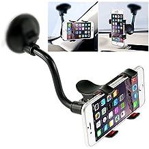 iVoler Soporte para Parabrisas de Coche con Universal Brazo / Cuello Largo y 360 Grados Rotacion para iPhone X / 8 / 8 Plus / 7 / 7 Plus / 6(s) / 6(s) Plus / SE / 5s / 5, Samsung Galaxy S9 / S9+ / S8 / S8+ / S7 / S7 Edge / S6 / S5, Huawei, LG, Motorola, Xiaomi, BQ Aquaris, Sony y Android Móviles Dispositivo GPS, Doble clip. - (Negro/Rojo)