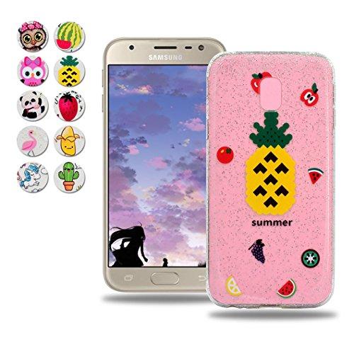 Samsung Galaxy J7 2017 (J730) Hülle, Wanxideng TPU Silikon Schutzhülle - Ultra-Dünne Weiche Schale - Transparenter Kristall Hülle mit Glitzerpuder & Süßes Muster - Ananas