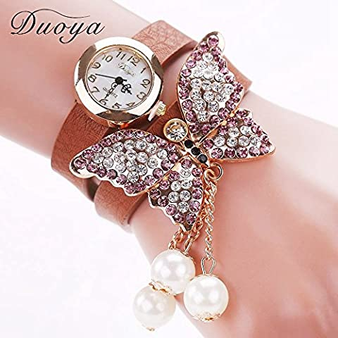 Lusso casual in pelle Nusey (TM) Duoya nuovissimo dell'orologio di modo Orologi delle donne braccialetto farfalla vigilanza del vestito Ladies Watch