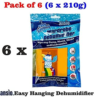 Wardrobe Dehumidifier, Condensation Remover, Moisture Absorber, Dehumidifiers for Damp, Mould, Moisture in Wardrobe, Bedroom, Caravan, Bathroom, Basement - 210 g Pack of 6