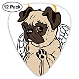 Guitar Picks - Abstract Art Colorful Designs,Pug Puppy Angel With A Hare On Its Head And Beautiful Angel Wings Heaven Religious,Unique Guitar Gift,For Bass Electric & Acoustic Guitars-12 Pack