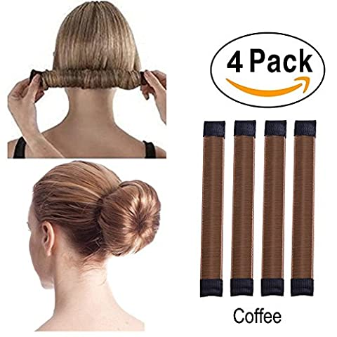 Super Simple Hair Bun Maker Set - 4pcs Women Girls Kids Easy Hair Styling Accessories Magic DIY Twist Donut Bun Makers Tool Blonde Snap Bun Shaper Ponytail Holder Perfect for School Work Daily Life Yoga Dancing Running Wedding Birthday Party, Duty-Heavy, Easy to Use, Colors in Black, Beige, Brown, Dark brown, Coffee, Light coffee, 12-month Worry-free Warranty (Bun-Maker-4pcs-Coffee)