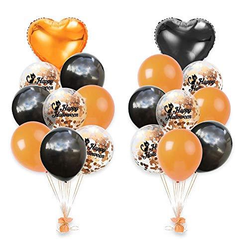 Seasons Shop Halloween Dekoration, 18PCS 12 Zoll Halloween Konfetti Ballon Set Orange Schwarz 18 Zoll Aluminiumfolie herzförmigen Ballon Fitting