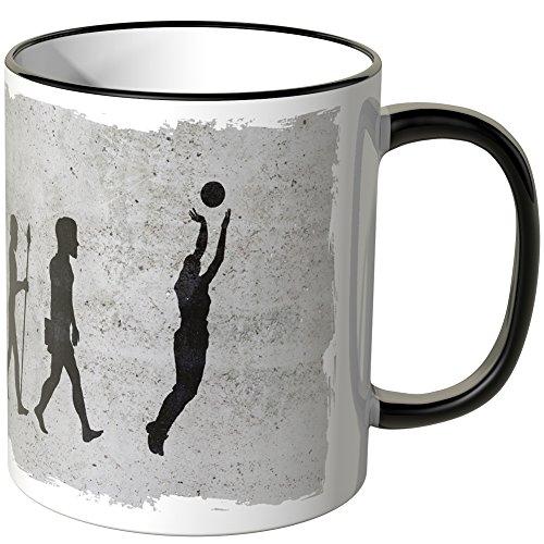 JUNIWORDS Tasse - Wähle Motiv & Farbe -Evolution Basketball - Schwarz