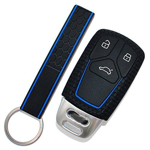 Schlüssel Hülle AD Wabenmuster + Keytag für 3 Tasten Auto Schlüssel Silikon Cover von Finest-Folia (Schwarz Blau)