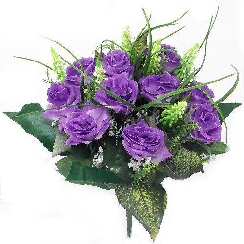 38cm Künstliche Seide lila Rose & Gras Bush mit GYP & Blattwerk-12Blume Eimer Hochzeit Auswringen Grave Home Dekoration