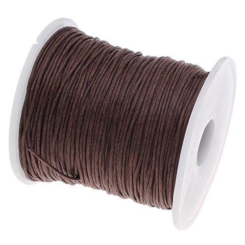 Perlin – 75 m Gewachste Baumwollekordel Dunkel Braun 1mm Gewachst Schmuck Schnüre Wachs Fäden ideal zur Schmuckherstellung C165