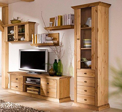 parete attrezzata classica in legno per soggiorno con mobile porta tv.