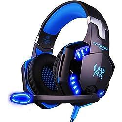 [Cable] Cascos Auriculares Gaming con Micrófono ArkarTech Headset Auricular Gamer Juegos Jack 3,5mm Ultra-livianos Ajustable Estéreo LED y USB Para PC Computadoras
