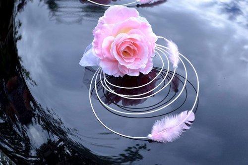 Autoschmuck Rattan Feder Autodeko Hochzeit Dekor Verschiedene Variante Komplett (Rosa, Basis)