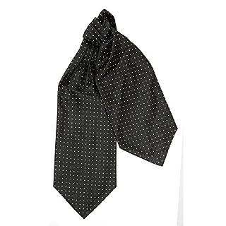 efeel® (LJA14) Silk Black Polka Dot Men Wedding Party Ascot Cravat Pocket Square Tie Set