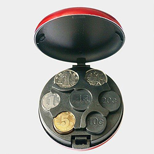 Anqeeso - Monedero redondo de aluminio con dispensador de monedas, azul