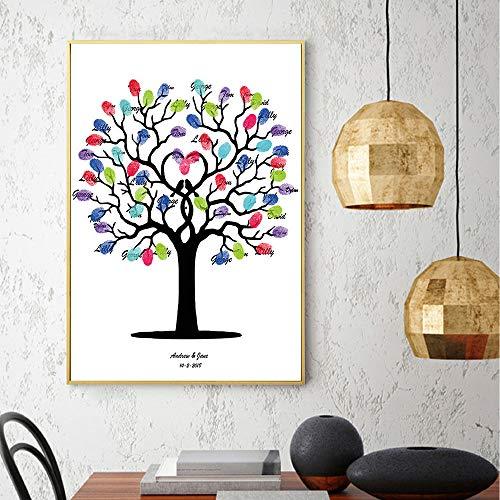MENGXIANG Besucher Unterschriftenbuch 丨 Praktische Unterschrift Leinwand Baum Kreative Fingerabdruck-Malerei 丨 Geeignet für Hochzeit/Geburtstagsfeier Anmelden Dekoration 21x30cm