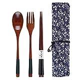 Ensemble de baguettes en bois de style japonais, ustensiles de voyage avec pochette pour camping, pique-nique, bureau ou maison Style a