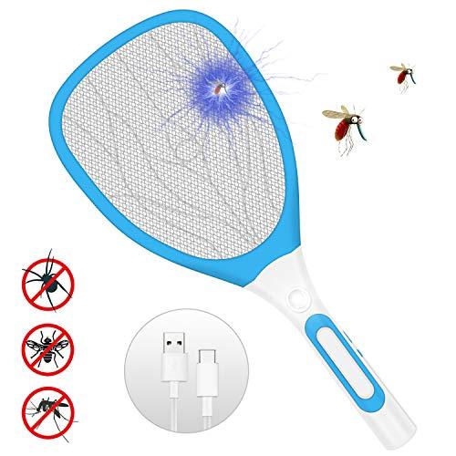 Sylanda Elektrische Fliegenklatsche Fliegenfänger, Elektrische Insektenvernichter Moskito Zapper Insekten Mörder mit LED-Beleuchtung und USB wiederaufladbar - Doppelte Schichten Mesh Schutz (Blau)
