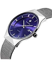 WWOOR Men's Elite Ultra Thin Stainless Steel Quartz Watches Mesh Wristwatch With Date WR-8016 (blue)