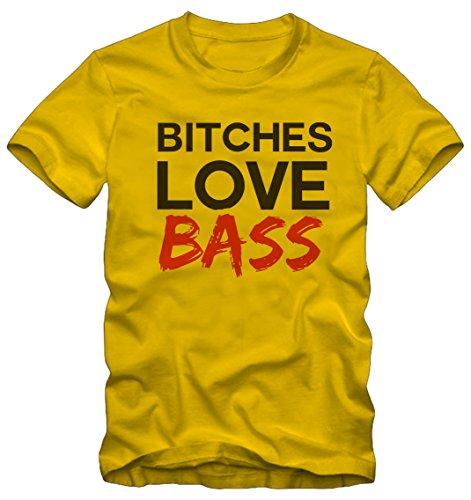 T-shirt Bitches Love Bass Ironica Ironic Bisura Giallo