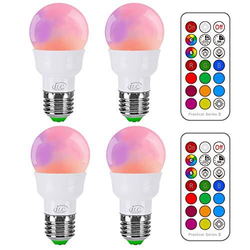 iLC Ampoule Led Couleur Edison Changement de couleur Ampoule 3W E27 RGBW LED Ampoules - RGB 12 choix de couleur - IR Télécommande (Lot de 4)