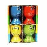 HAAC 4-teiliges Set Eierbecher Keramik mit Gesichtern Ostern