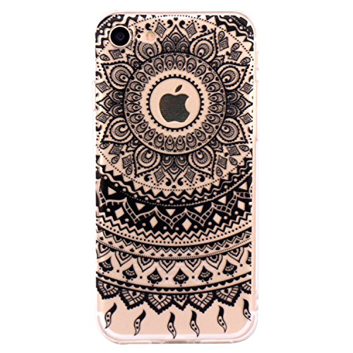 Cover iPhone 7, JIAXIUFEN TPU Gel Protettivo Skin Custodia Protettiva Shell Case Cover Per iPhone 7 (2016) - Black Tribal Mandala