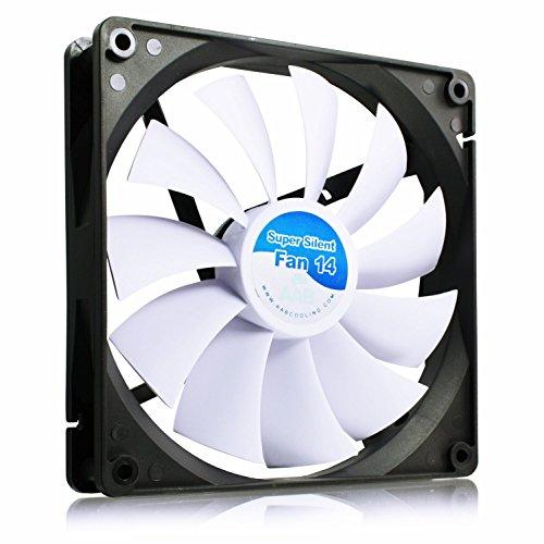 AAB Cooling Super Silent Fan 14 - Leise und Efizient 140mm Gehäuselüfter mit 4 Anti-Vibration-Pads - Ventilator Leise | Computer | Kühlung | Kühler