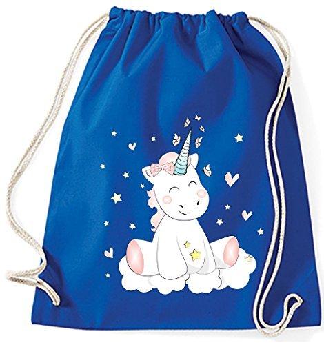 Jutebeutel Turnbeutel Sportbeutel Stofftasche Baumwolltasche Tasche Rucksack mit Kordel Cotton Gymsack Unicorn Einhorn cutie (Royal Blau) Mehrfarbig