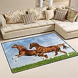 COOSUN Zwei Pferde Toben in der Ebene Bereich Teppich Teppich rutschfeste Fußmatte Fußmatten für Wohnzimmer Schlafzimmer 152,4x 99,1cm, Textil, multi, 60 x 39 inch