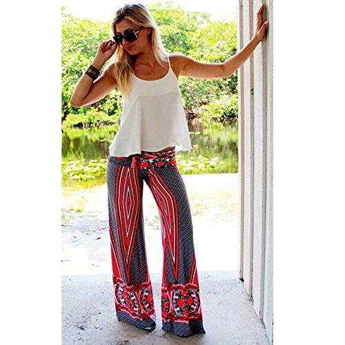 Bigood Pantalon Elastique Femme Large Jambe Yoga Plage Imprimé Casual Multicolore
