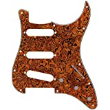 IKN SSS 11 Holes Strat Electric Guitar Pickguard for Fender US/Mexico Style Standard Strats Modern Style Guitar Parts, Pure Aluminum Sheilding, 3Ply Tiger Stripe