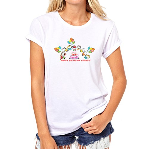Happy Birthday Kids Holding Ballons Dance Around Cake Damen T-Shirt Weiß