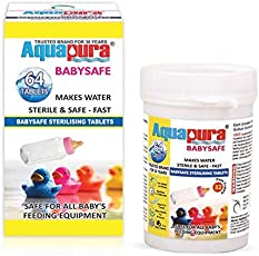 Aquapura Babysafe, Baby Bottle and Feeding Equipment Sterilising Tablets, 64 Tablets (32 Days Supply), Cold Sterilization Method, Safe & Environmental Friendly