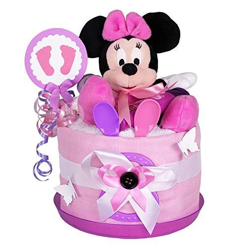 MomsStory - mini Windeltorte Mädchen | Minnie Mouse Disney | Baby-Geschenk zur Geburt Taufe Babyshower | 1 Stöckig (Rosa-Lila) mit Kuscheltier Schnuller & mehr