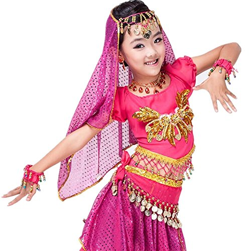 Wgwioo Kinder Party Modern Girl Bauchtanz Rock multicolor Professionelle Performance Sequins Indien Handgefertigte Tüll Stickerei Kleidung Kostüm rose red (Dance Kostüm Irish Stickerei)