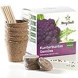 Merry Seeds Kunterbuntes Gemüse Anzuchtset - Außergewöhnliche Gemüse Samen inkl. Anzucht-Töpfen, Erde, Saatgut und Anleitung - Pflanzset Geschenk zum Muttertag für Garten und Balkon