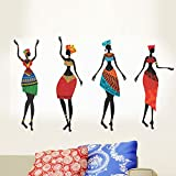 #9: Decals Design ' African Women' Wall Sticker (PVC Vinyl, 50 cm x 70 cm, Black)
