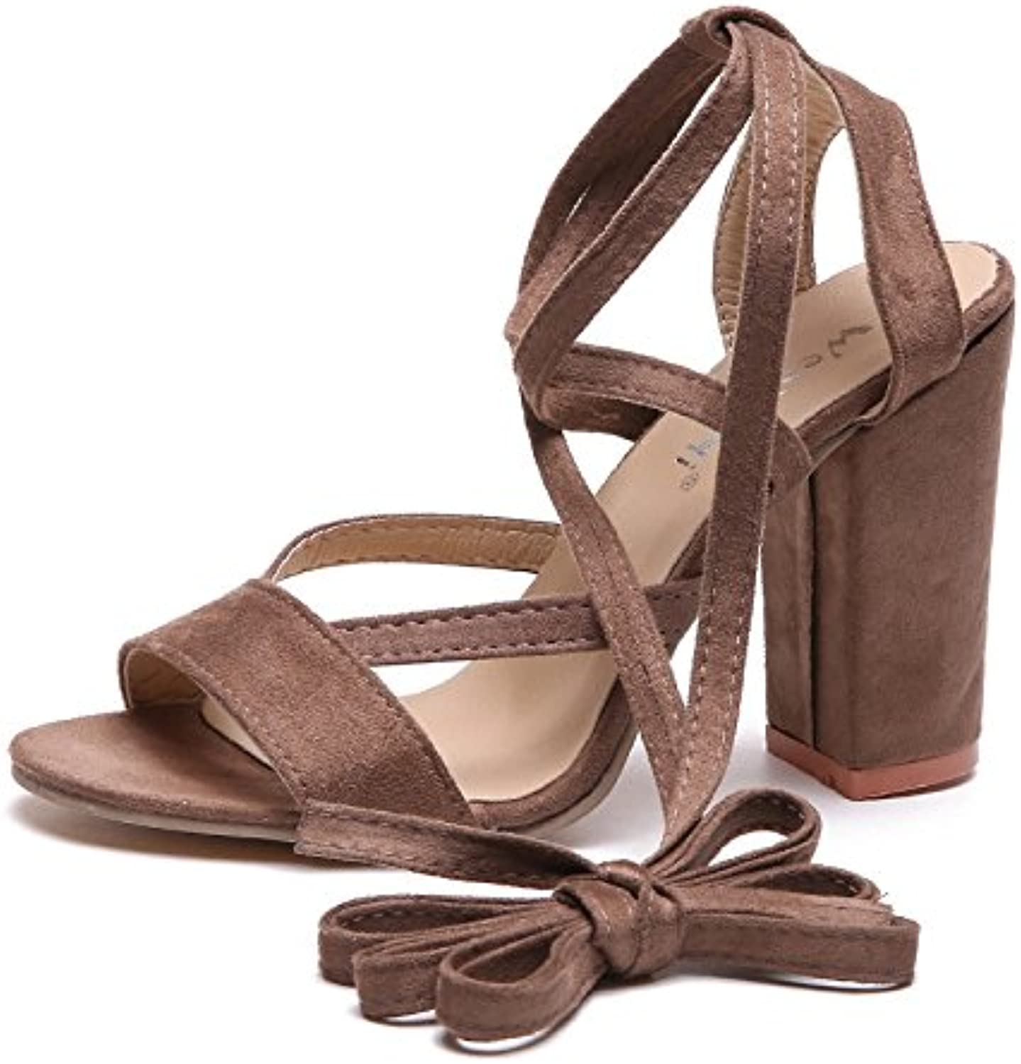 High heel sandals and high heel Rome foot ring bandage,brown,Thirty-four