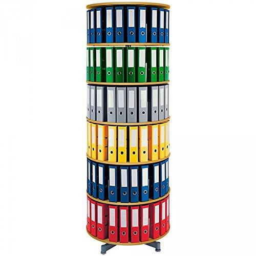 Ordner-Drehsäule mit 6 Etagen, für bis 120 breite DIN-Ordner, Böden Buche Dekor, Höhe 2280 mm, Ø 810 mm