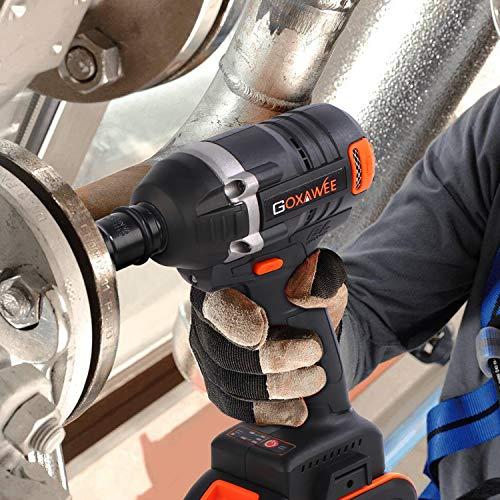 GOXAWEE Akku Schlagschrauber 20 Volt / 4 Ah Akku, max. 300 Nm, bürstenlos, mit Werkzeugkoffer - 7