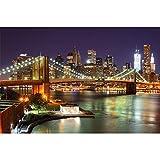 great-art XXL Poster - New York Brooklyn Bridge bei Nacht -