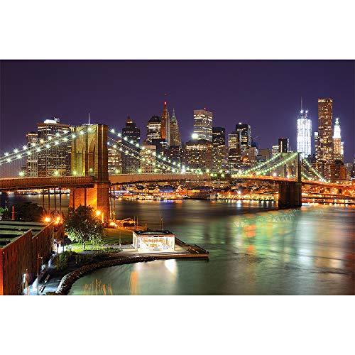 great-art XXL Poster - New York Brooklyn Bridge bei Nacht - Städte Sightseeing City Stadt Deko Fotoposter USA NYC Wolkenkratzer Wanddeko Motiv (140 x 100 cm)