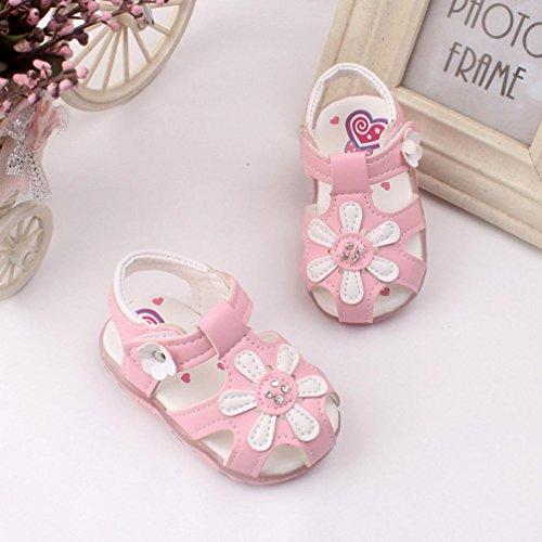 Sonnenblumen neue 0 weichen 5Y Sandalen M盲dchen Alter Prinzessin beleuchtet Kleinkind Rosa Rosa Schuhe mit Sohlen Hunpta 0 O5qRxwE6x