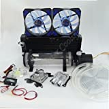 """510eSRLGVTL. SL160  - BEST BUY #1 Glowry® DIY PC Water Liquid Cooling Complete Kit Computer System, Including 210mm Reservoir 12v Pump 240mm Radiator 2pcs Blue LED Fans Universal CPU GPU Blocks 3 Way Flow Meter LED Thermometer Dust Protector 2m PVC Clear Tubing 1/2"""" OD 3/8"""" ID Compression Fittings NO Coolant Reviews and price compare uk"""