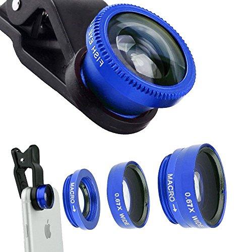 ECVILLA Handy Objektiv, Fisheye Objektiv 3-IN-1 Clip-On Fischauge Objektiv & 0.67X Weitwinkel &12X Makro-Objektiv für iPhone und Android Smartphones (blau)