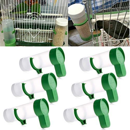 Jiamins 6Pack Mangiatoia a Uccelli Automatico Abbeveratoio a Uccelli Automatico Mangiatoia in plastica Resistente per Uccelli–Fissare alla Gabbia con Un Gancio in plastica, 150ml