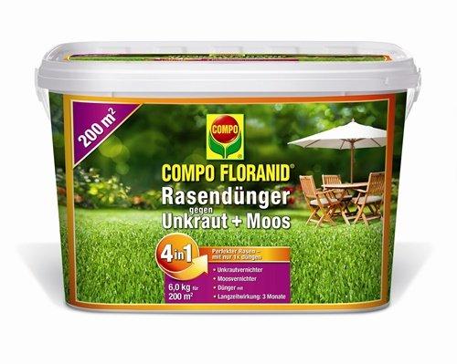 COMPO FLORANID Rasendünger gegen Unkraut+Moos 4in1, perfekt Absgestimmte Rasenpflege mit zuverlässiger Unkraut- und Moosvernichtung, 6 kg für 200 m²