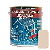 Peinture d'étanchéité imperméabilisante pour terrasse circulable, balcon, sols extérieurs, béton, plusieurs coloris 2.5 litres Sable